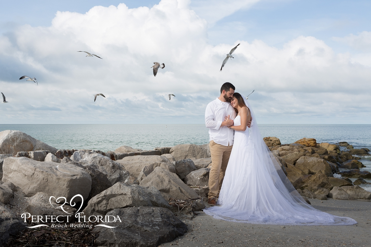 beach wedding flash photography