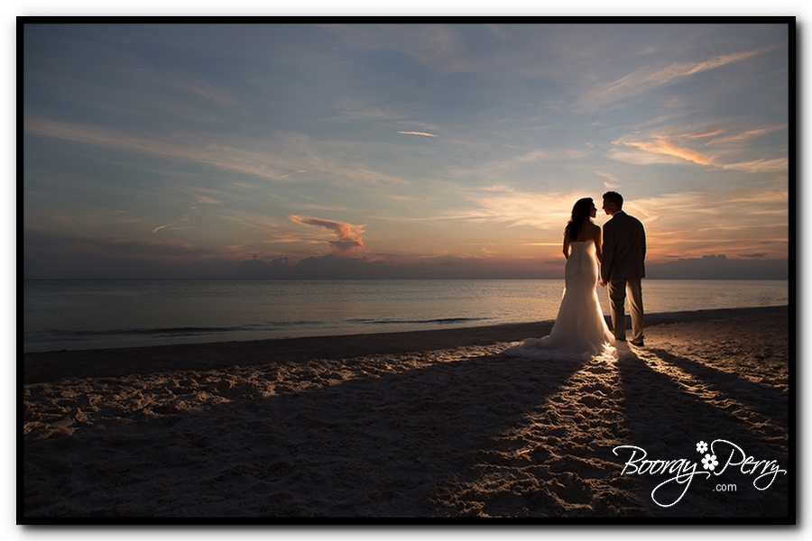 sunset beach wedding picture