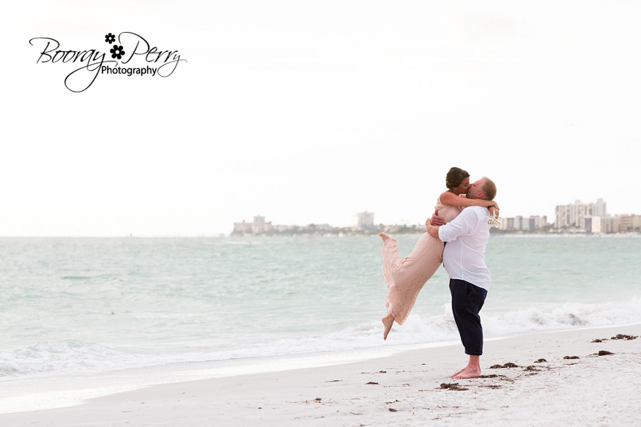 Wedding kiss on the beach in florida